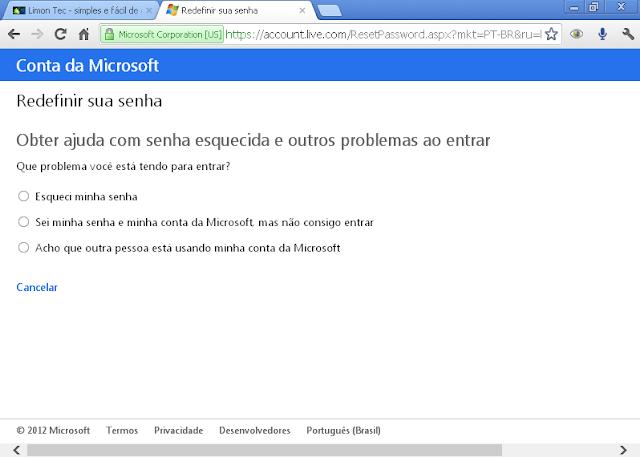 Hotmail - interface metro na área de redefinir senha
