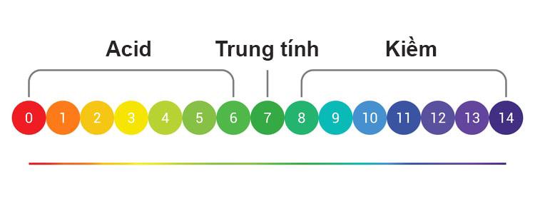 Độ pH cho thấy mức độ Acid hoặc Bazơ của một chất so với nước cất (có độ pH trung tính là 7,0)