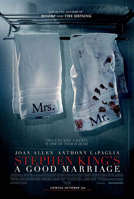 Movie poster for the 2014 dramatic crime thriller Stephen King's A Good Marriage, starring Joan Allen, Anthony LaPaglia, Stephen Lang, and Cara Buono