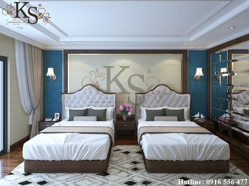 Hình ảnh: Điểm khác biệt giữa các thiết kế phòng ngủ đôi khách sạn nằm ở màu sắc của tấm nệm phía đầu giường. Căn phòng này có xen kẽ giữa hai màu trắng - xanh đen.