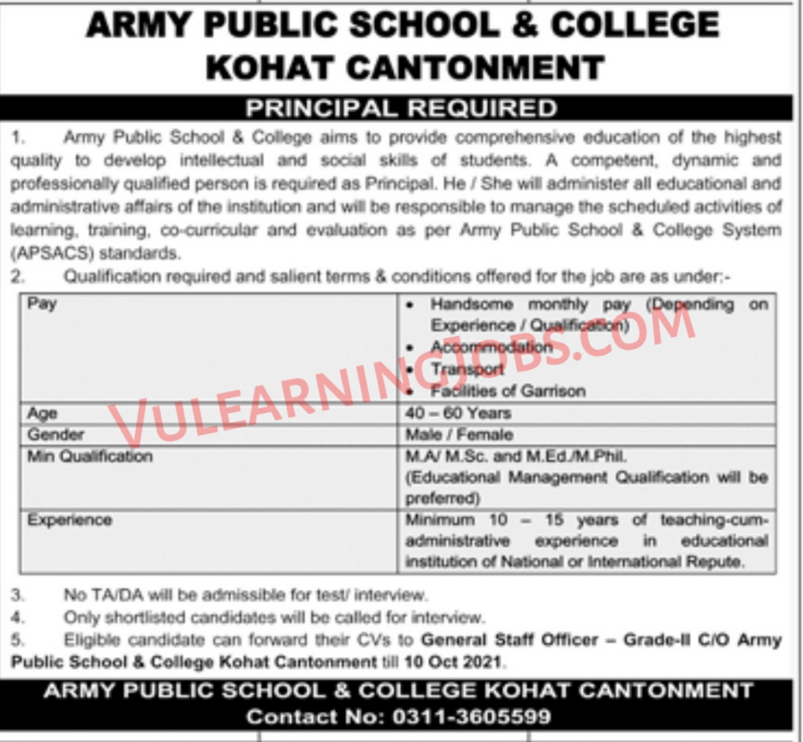 Army Public School & College Kohat Campus Jobs September 2021 For Principal Latest