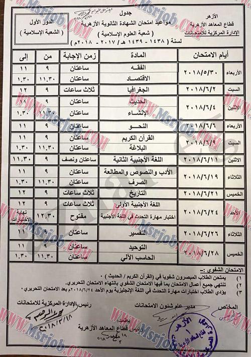 جداول امتحانات الشهادة الثانوية الأزهرية لعام 2018 - بوابة الازهر الشريف