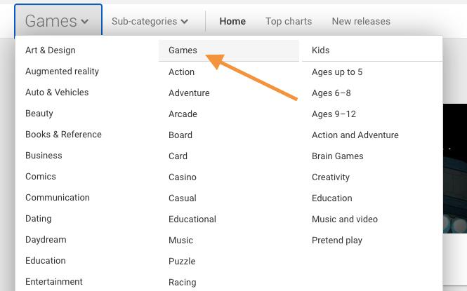 Pilih Kategori Game Android