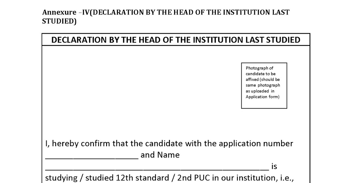 Answer Book Declaration Proforma From The Last Institute Studied