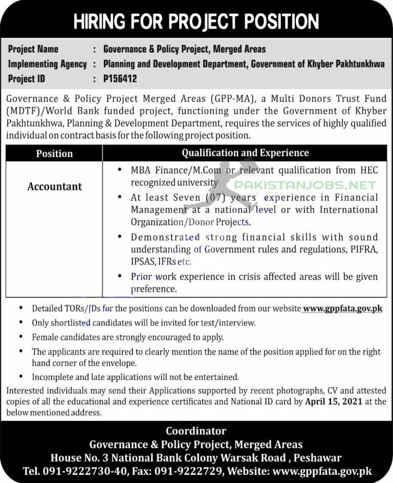 Planning and Development Department KPK Jobs March 2021