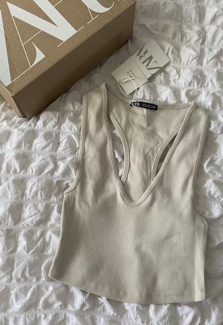 Zara Ribbed V Neck Crop Top In Sand Size S