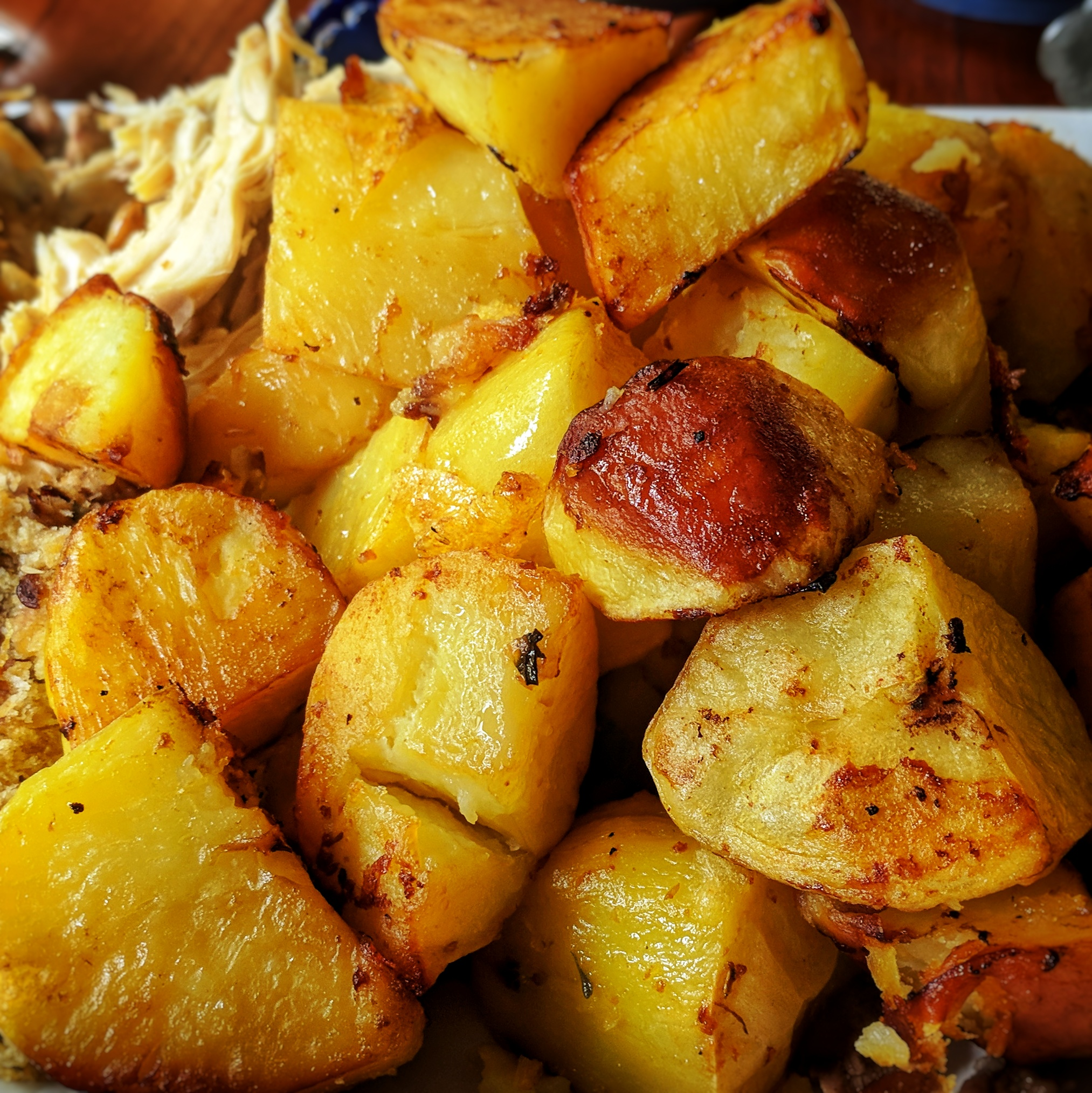 A dish of roast potatoes
