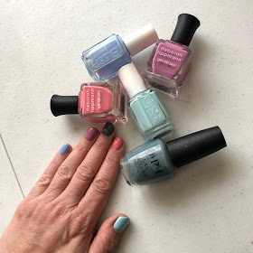 #ManiMonday, Jamie Allison Sanders, manicure, nails, nail polish, nail varnish, nail lacquer, Rainbow Brite nails, multicolor manicure, Essie Bikini So Teeny, Essie Mint Candy Apple, Deborah Lippmann Wild Orchid, Deborah Lippmann Can't Stop The Feeling!, OPI Alpaca My Bags