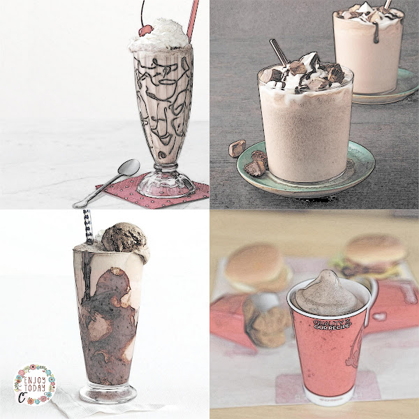 Left to Right: Cherry 🍒 Chocolate 🍫 Floats 🥤, Chocolate 🍫 Peanut 🥜 Butter Shakes 🥤, Old-Fashioned Ice Cream Sodas 🥤, Wendy's Frosty 🥤