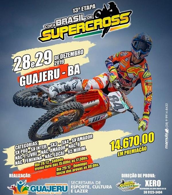 13ª Etapa da Copa Brasil de SuperCross acontece em Guajeru nos dias 28 e 29 de Dezembro
