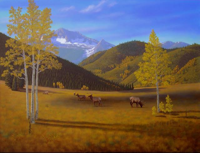Colorado, fall, autumn, mountain, meadow, aspen, elk, wildlife, shadows, yellow, green, blue