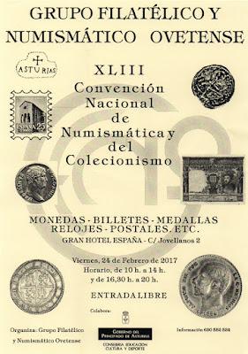 Cartel convención numismática y coleccionismo Oviedo 2017