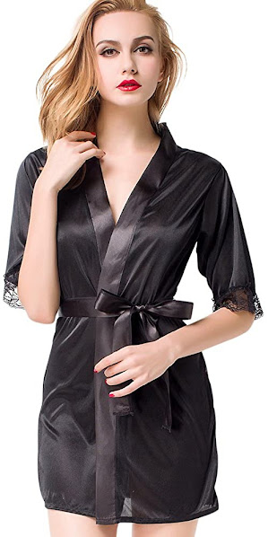 Lace Short Satin Robe For Women