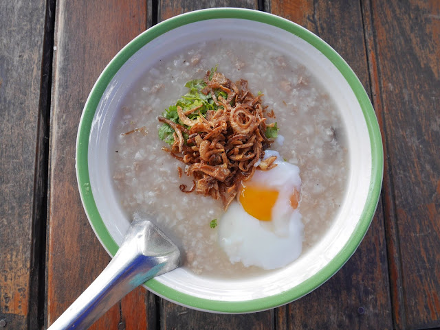 Lao porridge breakfast in Luang Prabang, Laos