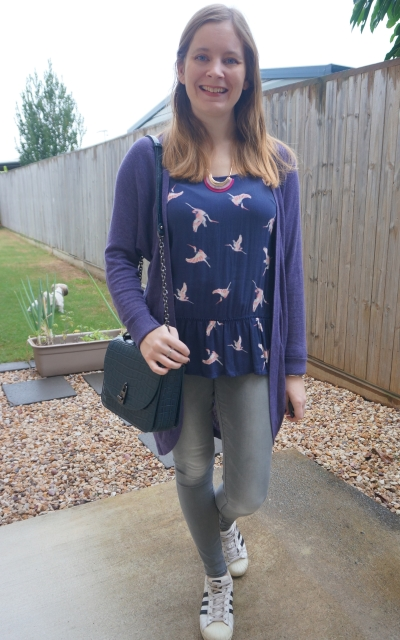 navy bird print peplum tank with grey skinny jeans purple cardigan and teal love too bag winter rainy day outfit | awayfromblue
