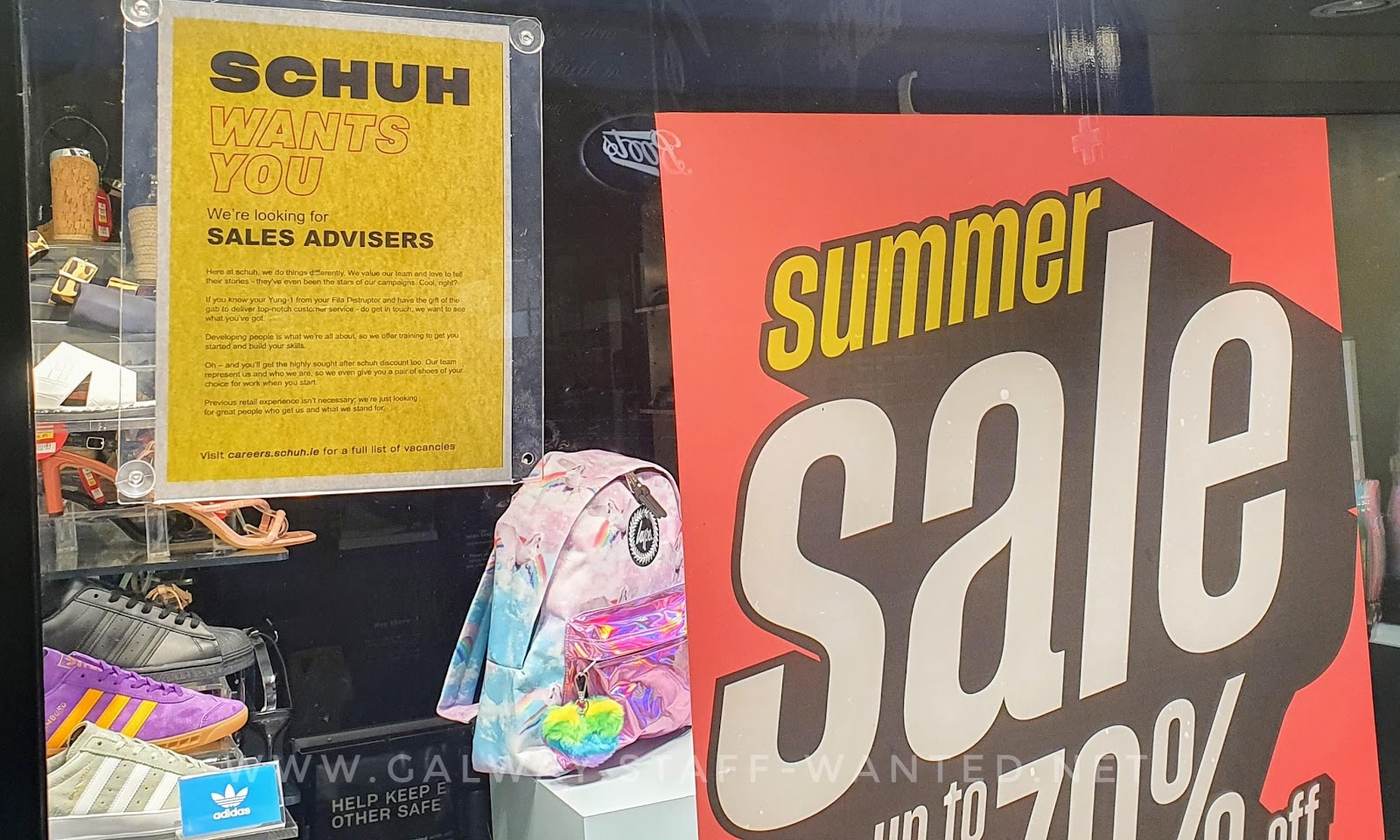 shop window signs - staff wanted -summer sale retro font, up to 70% discount