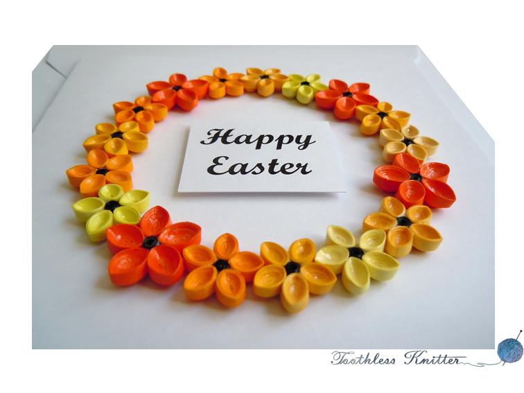 Easter Card with Flower Wreath / Kartka Wielkanocna z Wieńcem Kwiatowym