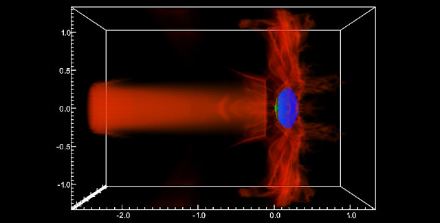 Cosmos code simulates wide-ranging astrophysical phenomena. Shown here is a multi-physics simulation of an Active Galactic Nucleus (AGN) jet colliding with and triggering star formation within an intergalactic gas cloud (red indicates jet material, blue is neutral Hydrogen [H I] gas, and green is cold, molecular Hydrogen [H_2] gas. (Chris Fragile)
