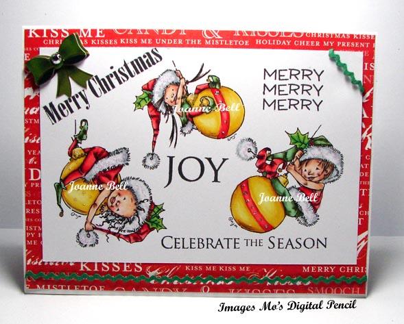 Little elves swinging on Christmas bulb decorations