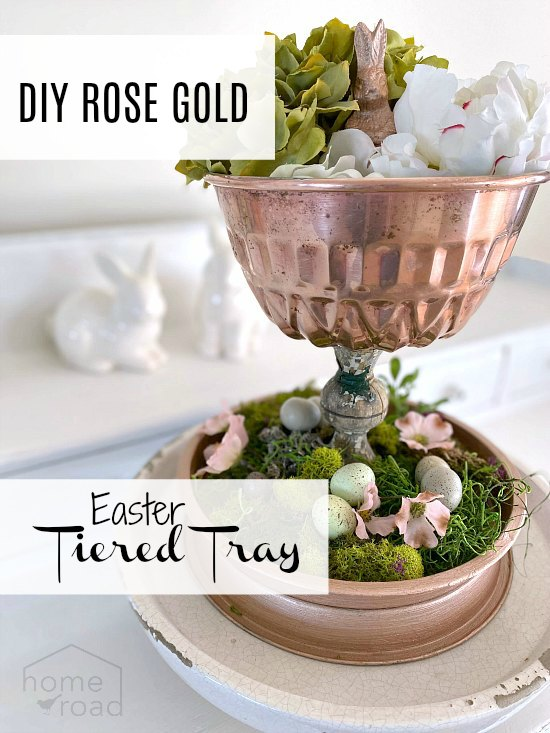 Easter tiered tray with flowers and overlay