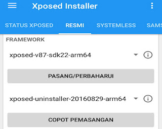 instal framework modul xposed