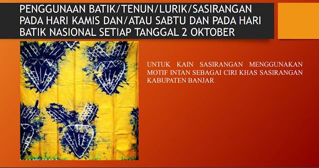 motif batik intan Pakaian PDH kab Banjar