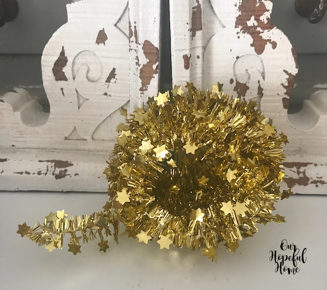 gold star tinsel Christmas crafts