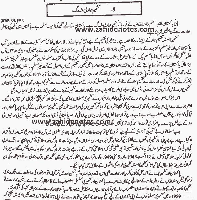 Kahmir hamari shah rag essay in Urdu for 2nd year