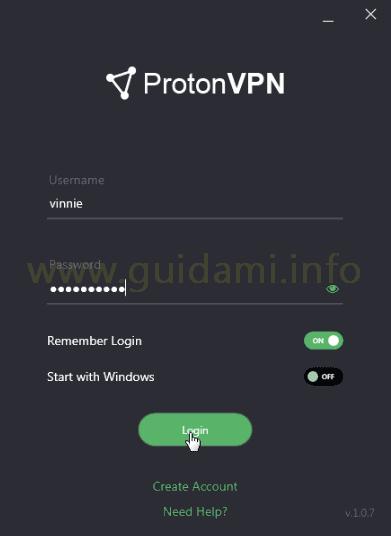 ProtonVPN schermata Login