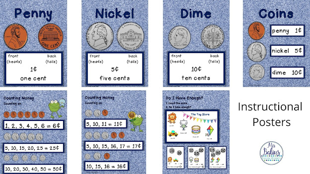 sample instructional posters for teaching kids to count money