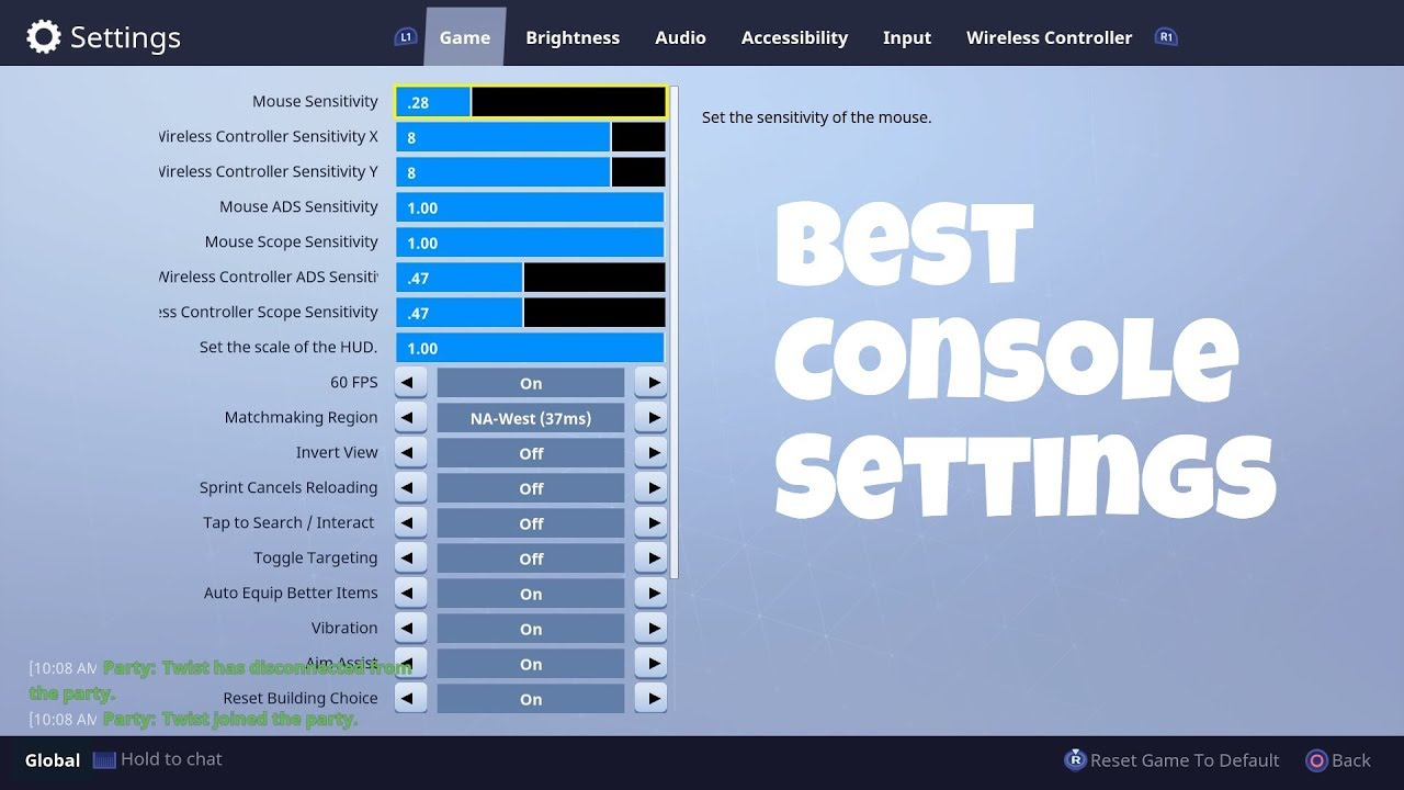 best fortnite settings xbox ps4 console 2019 part1 - fortnite settings xbox one season 7