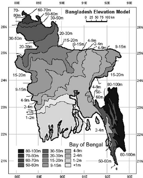 Contour Map of Bangladesh