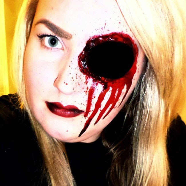 Halloween Scary Eyeless Girl Makeup