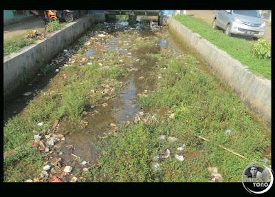 FOTO 1 : Saluran irigasi ditumbuhi rumput dan sampah. Pagaden Barat, Subang