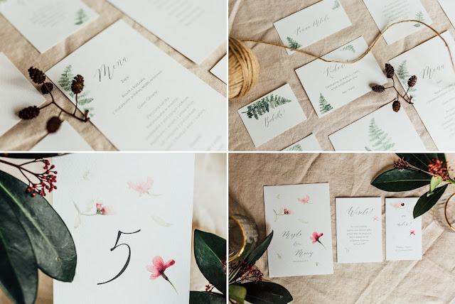 Minimalistyczne zaproszenia na ślub z motywami roślinnymi od She Makes.