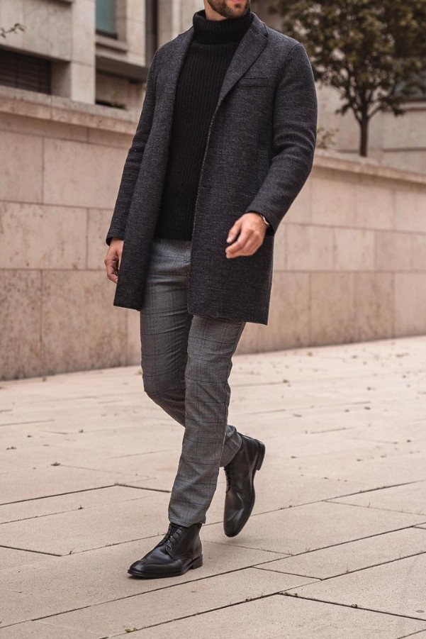 Turtle neck with long coat & chinos