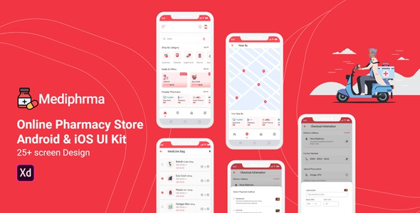 Best Online Pharmacy Store Android and IOS UI Kit