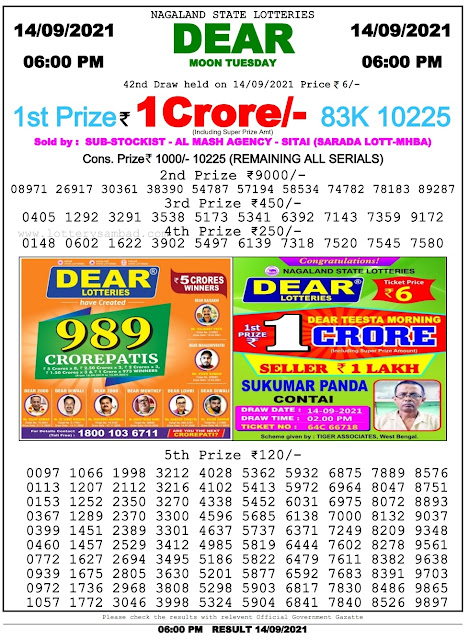 Nagaland State Lottery Result 14.9.2021 Today - 6pm