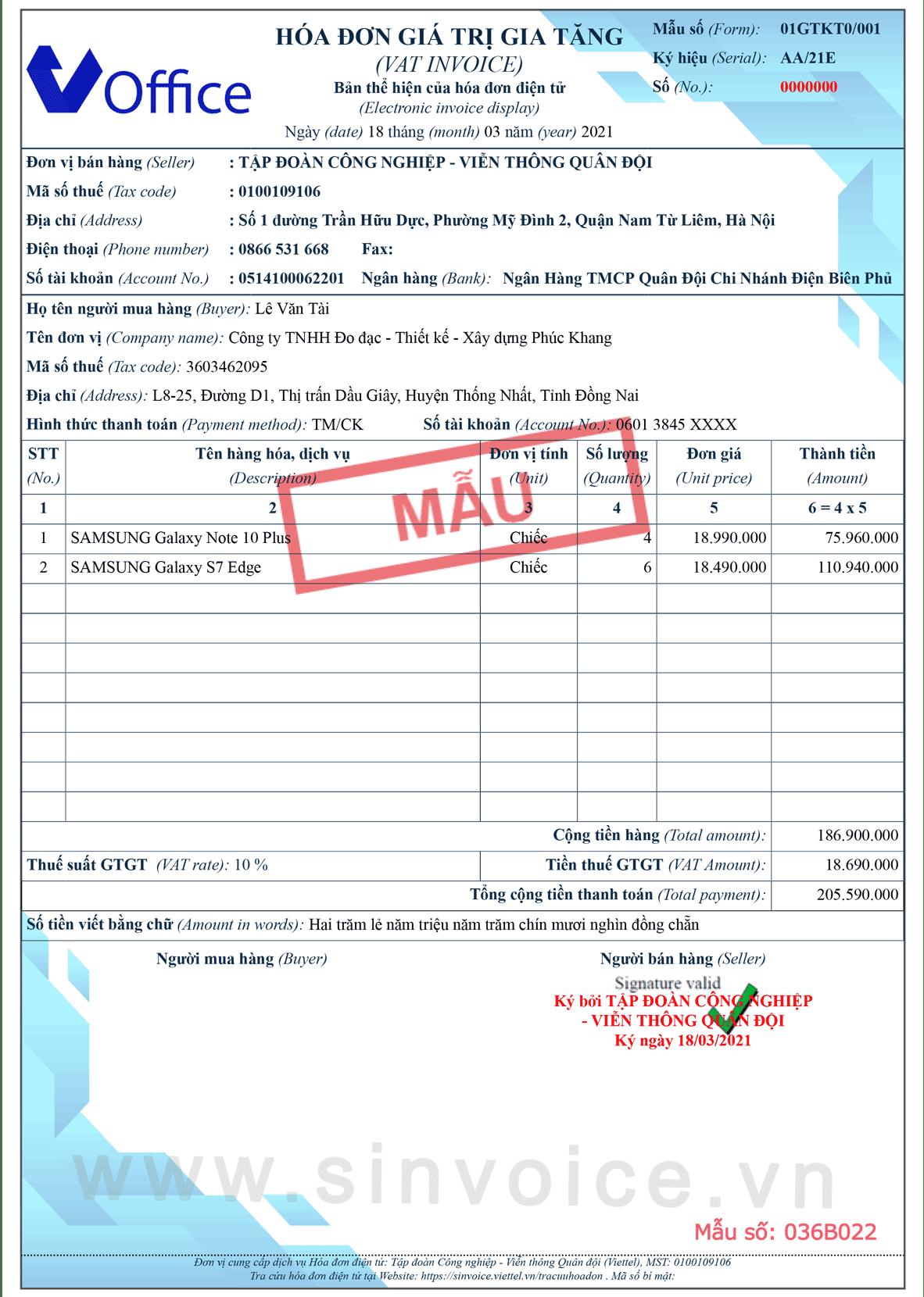 Mẫu hóa đơn điện tử số 036B022