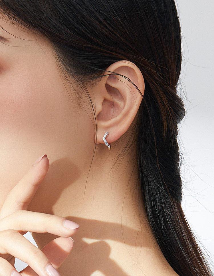 個性風方向 925純銀鋯石耳環