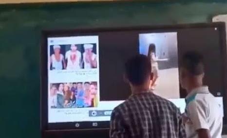معلم وطلاب يشاهدون وصلة رقص للراقصة البرازيلية بالفصل