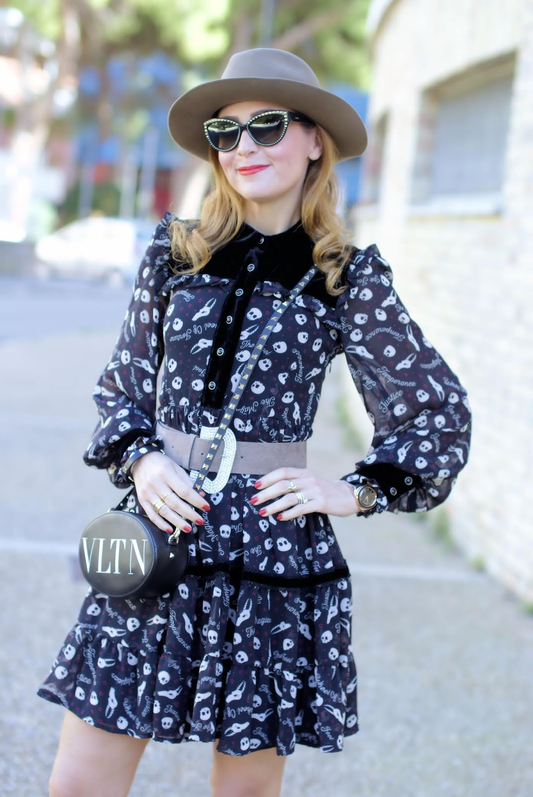 Maggie Sweet skull dress, Valentino bag on Fashion and Cookies fashion blog, fashion blogger style
