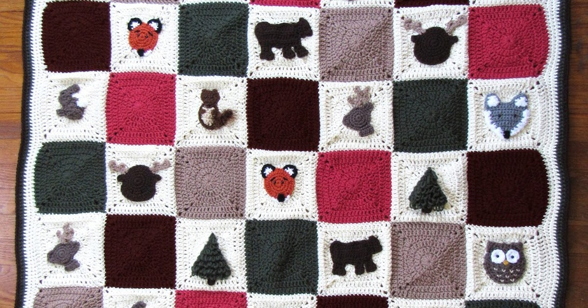 Woodland Granny Square Afghan Free Crochet Pattern Marias Blue Crayon