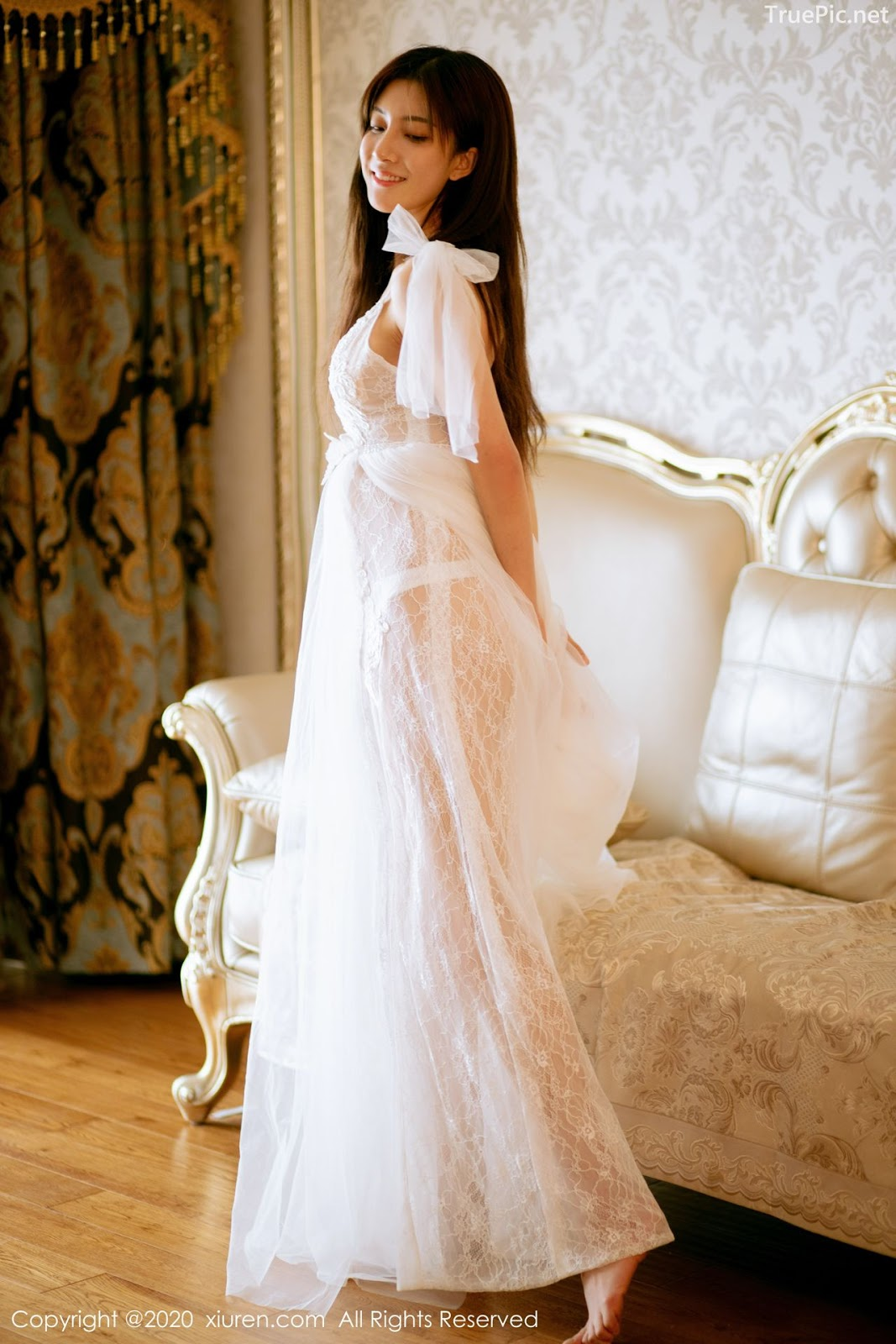 XIUREN No.1914 - Chinese model 林文文Yooki so Sexy with Transparent White Lace Dress - Picture 4
