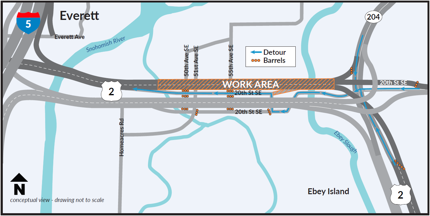 during the first four weekend closures of westbound us 2 travelers will be detoured westbound on 20th street se and returned to the far west end of the us