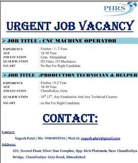 10th, 12th, ITI, Graduation Urgent Job Vacancy  CNC Machine Operator & Production Technician, Helper, in Ahmadabad