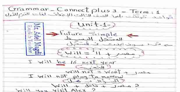 مذكرة جرامر كونكت بلس 3 تالتة ابتدائى ترم اول 2021
