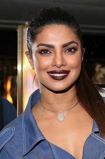 Priyanka Chopra in Spicy Stylish denim Trench dress at designer Carolina Herrera Book Party in NYC