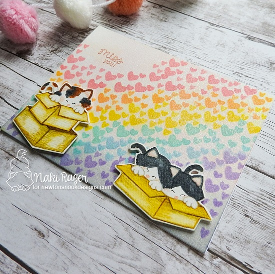 Miss You Card by Nakaba Rager | Newton Loves Boxes Stamp Set, Stowaway Newton Stamp Set and Furr-ever Friends Stamp Set by Newton's Nook Designs #newtonsnook #handmade