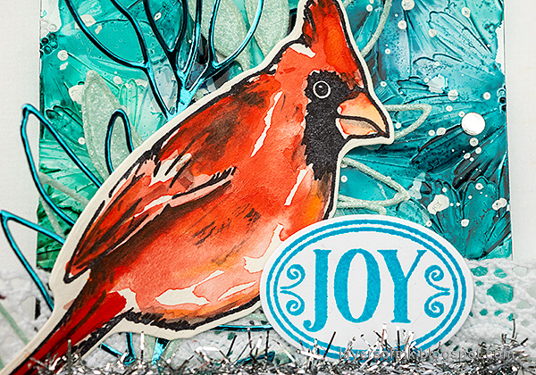Layers of ink - Cardinal Tag Tutorial by Anna-Karin Evaldsson. Watercolor cardinal.